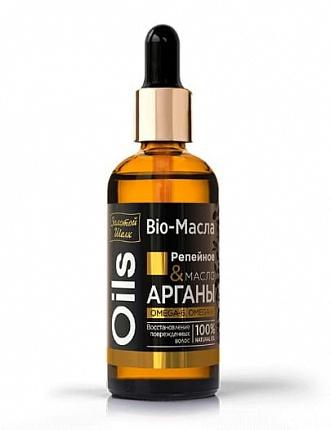 ЗОЛОТОЙ ШЕЛК Bio-Масло для волос 100мл Репейное и Аргана - купить в интернет-магазине Ioptima